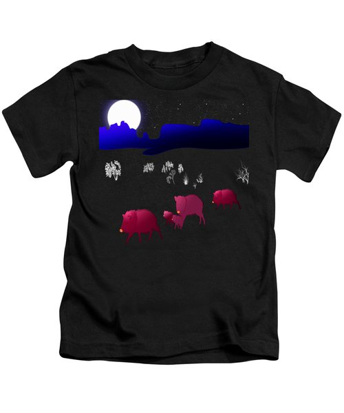 They Walk By Night Kids T-Shirt by Methune Hively