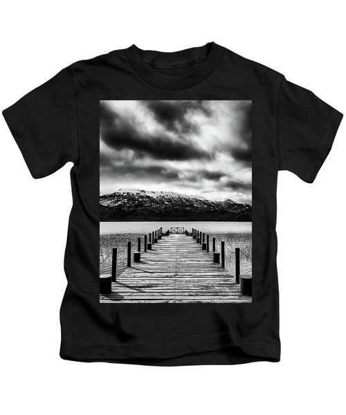 Landscape With Lake And Snowy Mountains In The Argentine Patagonia - Black And White Kids T-Shirt