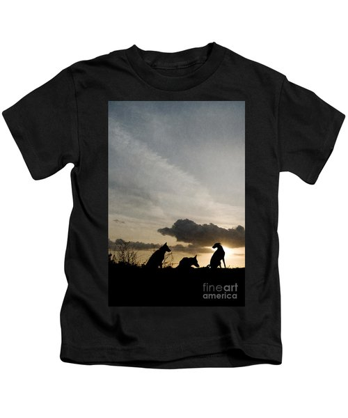 Three Dogs At Sunset Kids T-Shirt