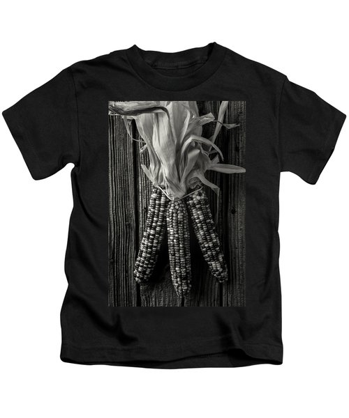 Three Indian Corn In Black And White Kids T-Shirt