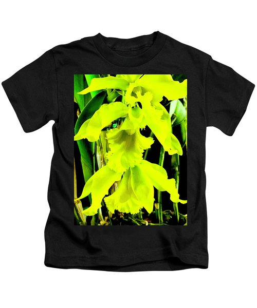 Three Orchids In Yellow Kids T-Shirt