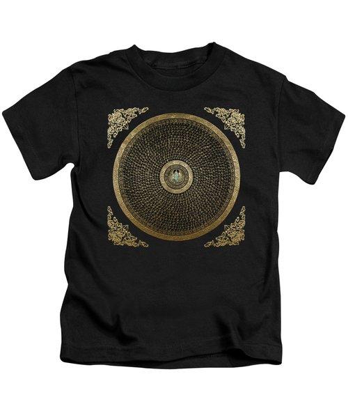 Tibetan Thangka - Green Tara Goddess Mandala With Mantra In Gold On Black Kids T-Shirt