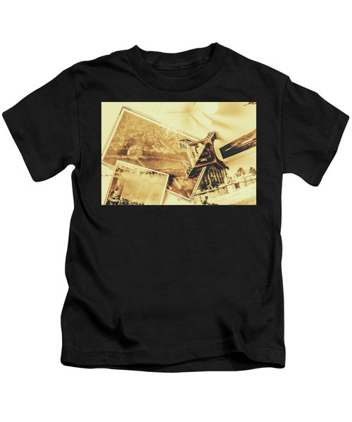 Toned Image Of Eiffel Tower And Photographs On Table Kids T-Shirt