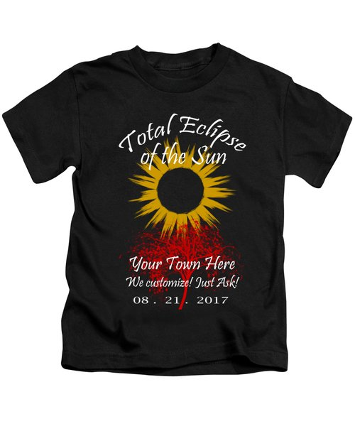 Total Eclipse Art For T Shirts Sun And Tree On Black Kids T-Shirt
