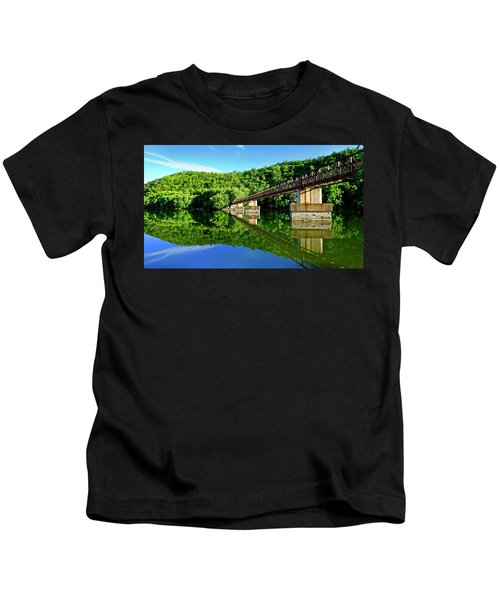 Tranquility At The James River Footbridge Kids T-Shirt