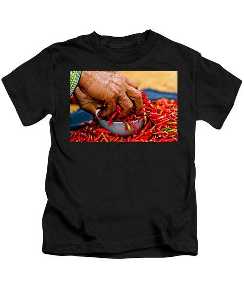 Woman Holding Red Chillies, Can Cau Market, Sapa,vietnam Kids T-Shirt