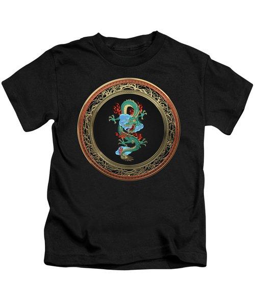Treasure Trove - Turquoise Dragon Over Black Velvet Kids T-Shirt