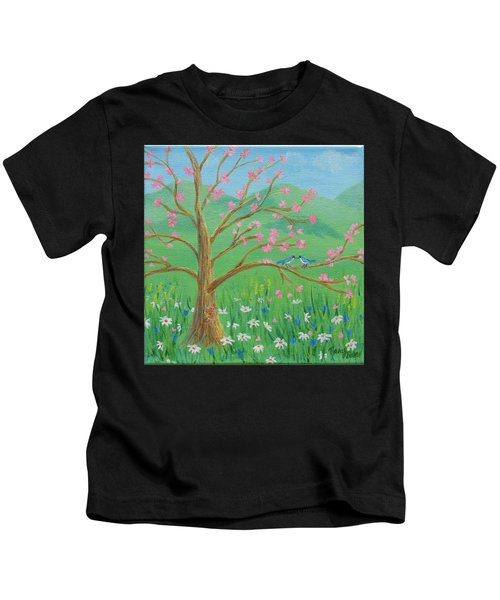 Kids T-Shirt featuring the painting Tree For Two by Nancy Nale