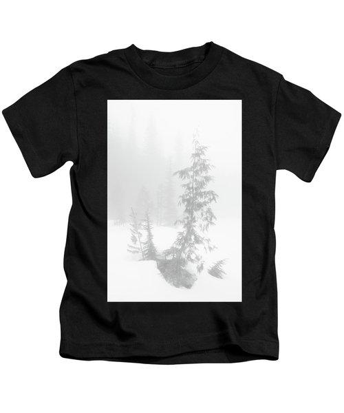Trees In Fog Monochrome Kids T-Shirt