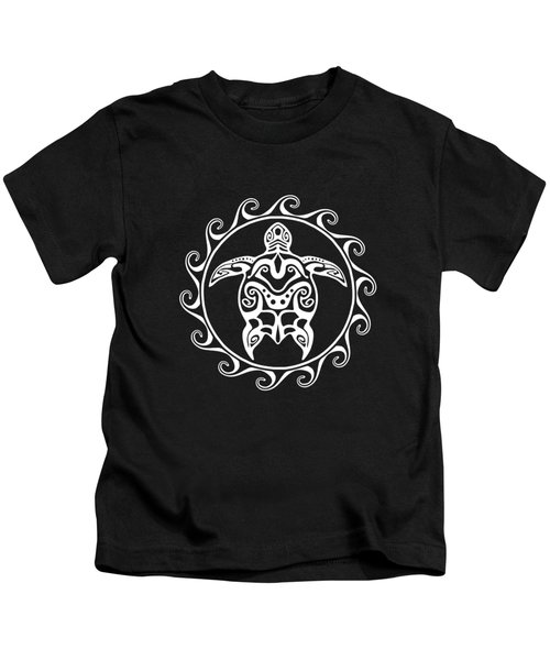 Tribal Maori Sun Turtle Kids T-Shirt by Chris MacDonald