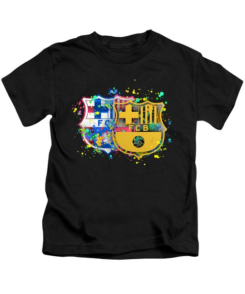Tribute To Fc Barcelona 8 Kids T-Shirt by Alberto RuiZ