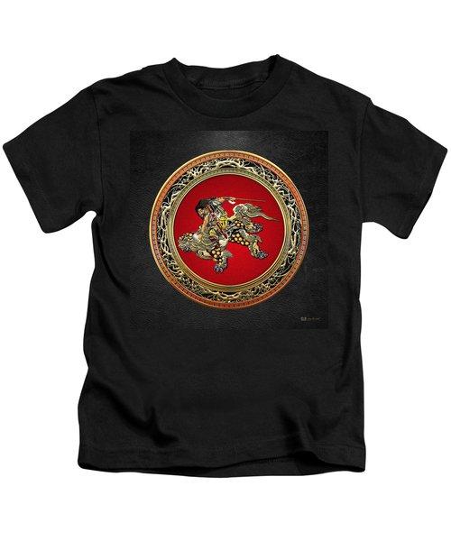 Tribute To Hokusai - Shoki Riding Lion  Kids T-Shirt