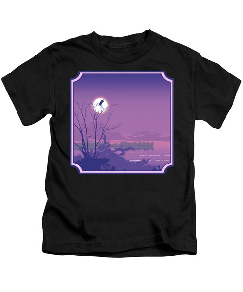 Tropical Birds Sunset Purple Abstract - Square Format Kids T-Shirt