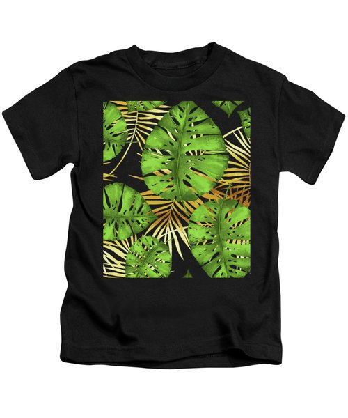 Tropical Haze Noir Green Monstera Leaves, Golden Palm Fronds On Black Kids T-Shirt