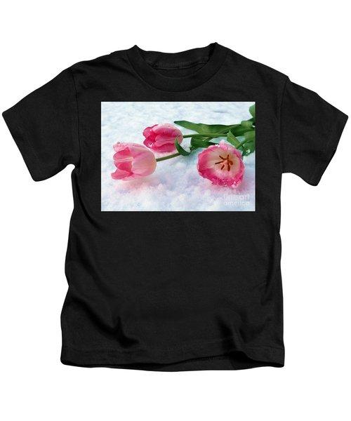Tulips In Snow Kids T-Shirt