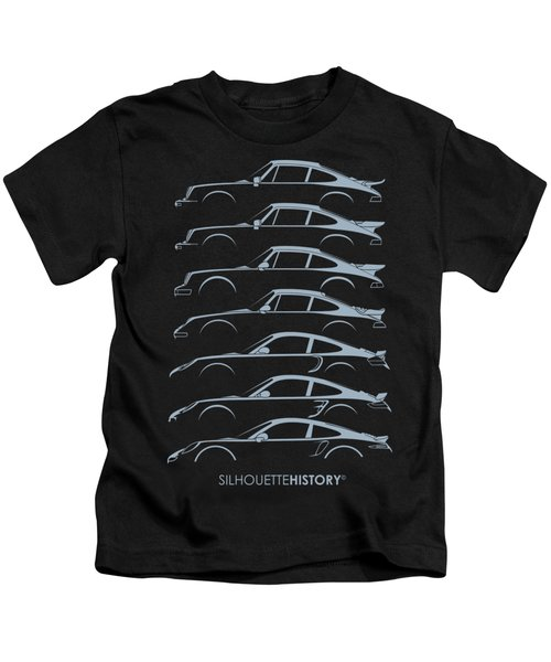 Turbo Sports Car Silhouettehistory Kids T-Shirt