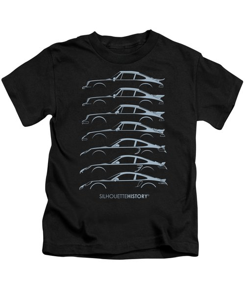Turbo Sports Car Silhouettehistory Kids T-Shirt