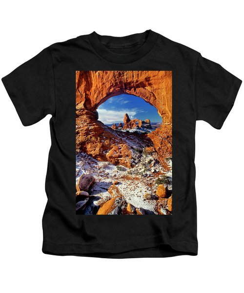 Turret Arch Through North Window Arches National Park Utah Kids T-Shirt