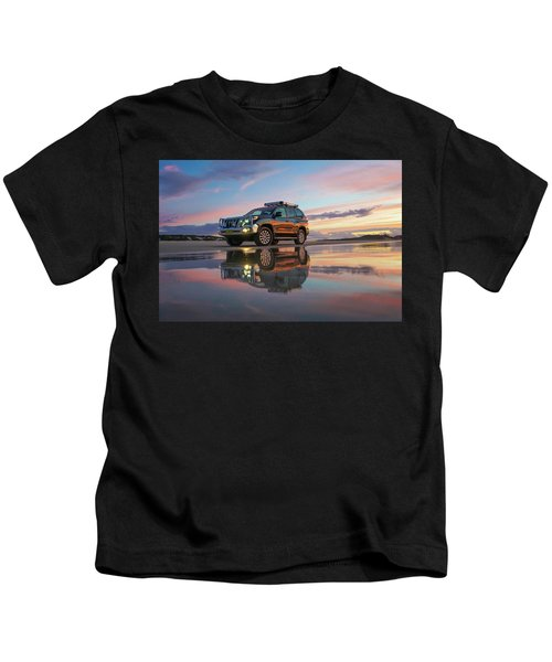 Twilight Beach Reflections And 4wd Car Kids T-Shirt