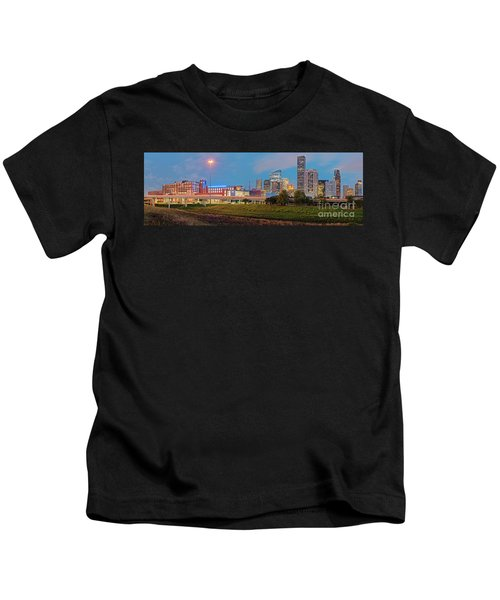 Twilight Panorama Of Downtown Houston Skyline And University Of Houston - Harris County Texas Kids T-Shirt