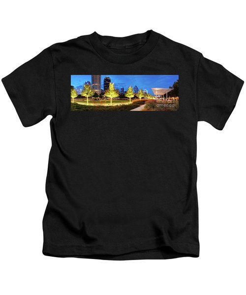 Twilight Panorama Of Klyde Warren Park And Downtown Dallas Skyline - North Texas Kids T-Shirt