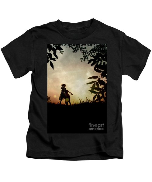 Two Girls Dancing In Countryside Kids T-Shirt