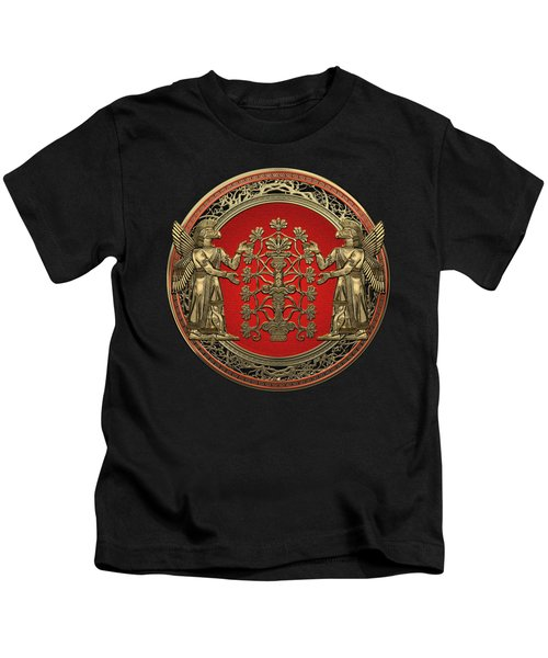 Two Instances Of Gold God Ninurta With Tree Of Life Black Velvet Kids T-Shirt