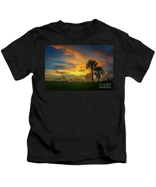 Two Palm Silhouette Sunrise Kids T-Shirt