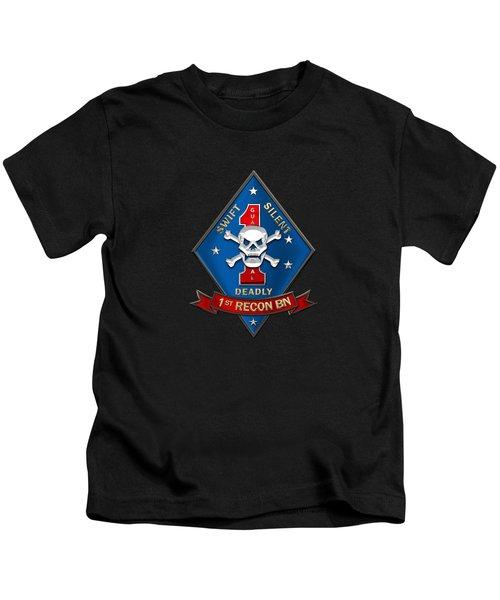 U S M C  1st Reconnaissance Battalion -  1st Recon Bn Insignia Over Black Velvet Kids T-Shirt