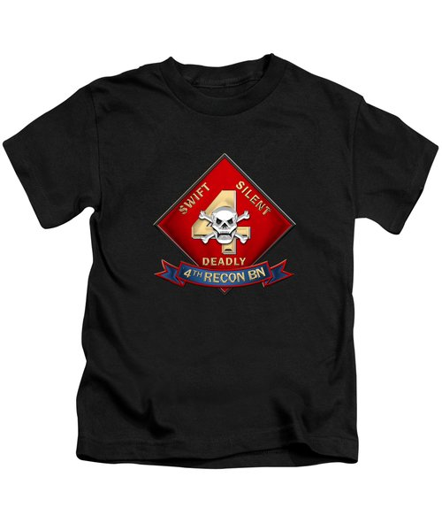 U S M C  4th Reconnaissance Battalion -  4th Recon Bn Insignia Over Black Velvet Kids T-Shirt