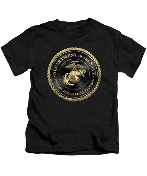U S M C Emblem Black Edition Over Black Velvet Kids T-Shirt
