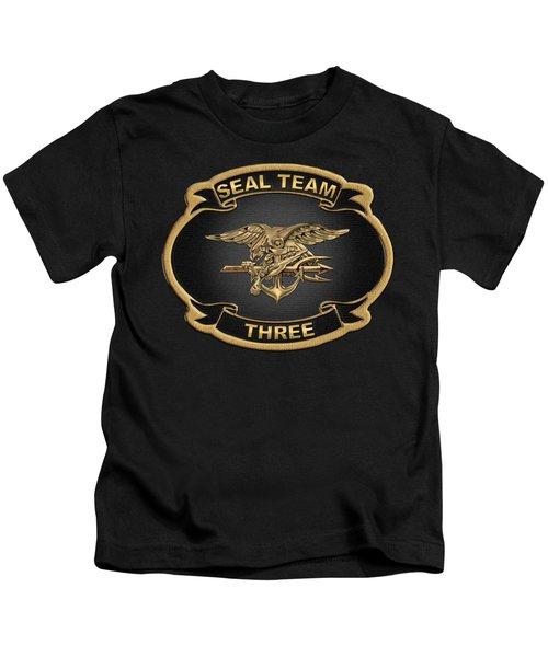 U. S. Navy S E A Ls - S E A L Team 3  -  S T 3  Patch Over Black Velvet Kids T-Shirt