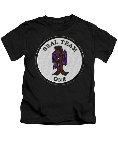 U. S. Navy S E A Ls - S E A L Team One -  S T 1 Patch Over Black Velvet Kids T-Shirt
