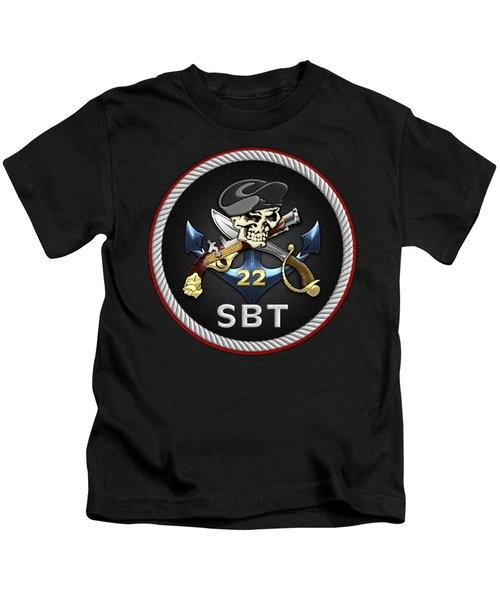 U. S. Navy S W C C - Special Boat Team 22  -  S B T 22  Patch Over Black Velvet Kids T-Shirt