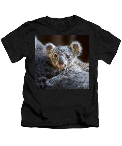 Up Close Koala Joey Kids T-Shirt by Jamie Pham