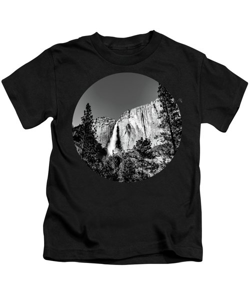 Upper Falls, Black And White Kids T-Shirt