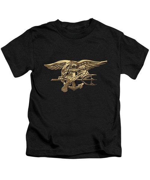 U.s. Navy Seals Trident Over Black Flag Kids T-Shirt