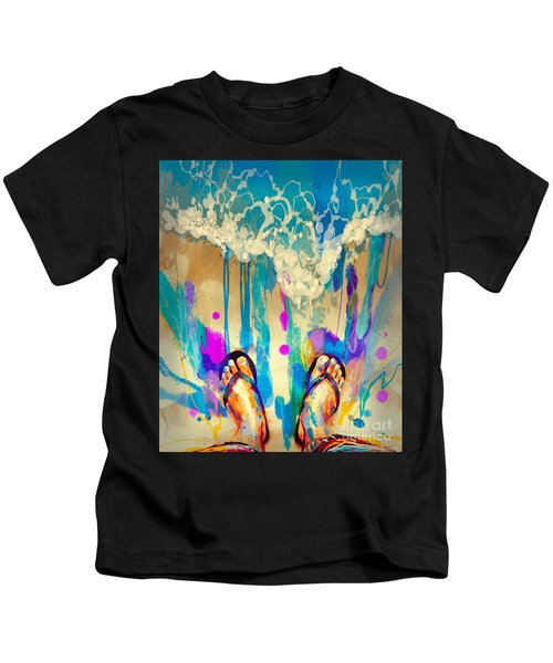 Kids T-Shirt featuring the painting Vacation Time by Tithi Luadthong