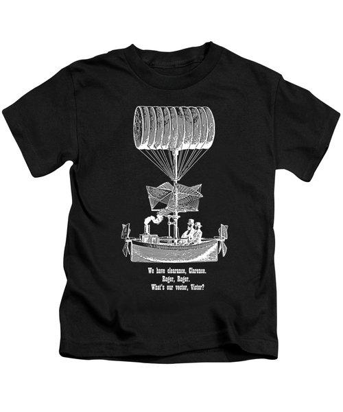 Vector Victor Vintage Airship White Transparent Kids T-Shirt
