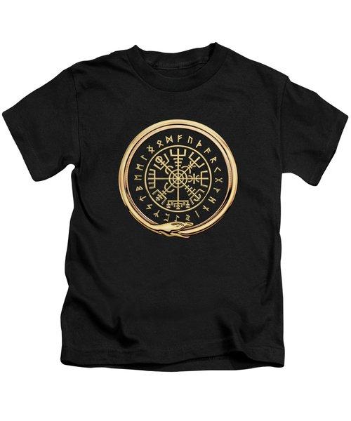 Vegvisir - A Magic Icelandic Viking Runic Compass - Gold On Black Kids T-Shirt