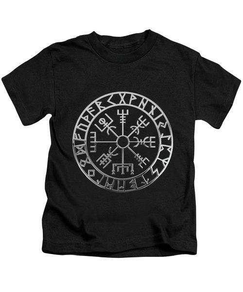 Vegvisir - A Magic Icelandic Viking Runic Compass - Silver On Black Kids T-Shirt