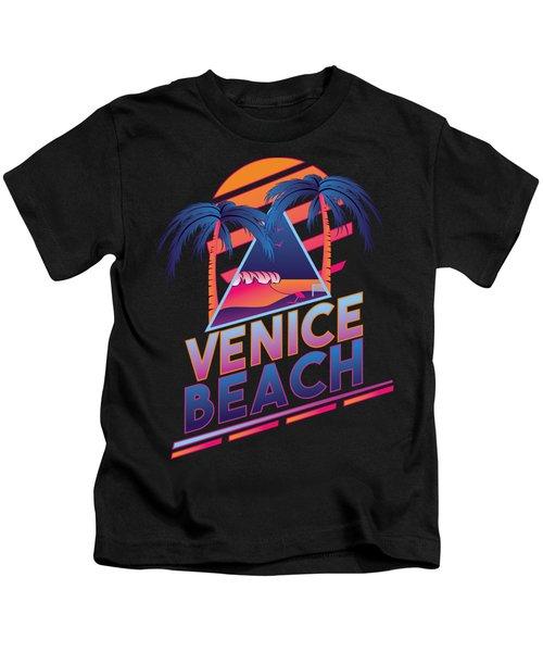 Venice Beach 80's Style Kids T-Shirt by Alek Cummings