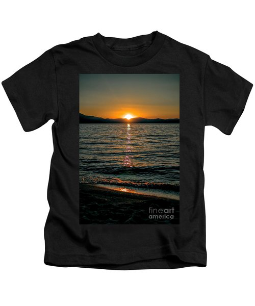 Vertical Sunset Lake Kids T-Shirt