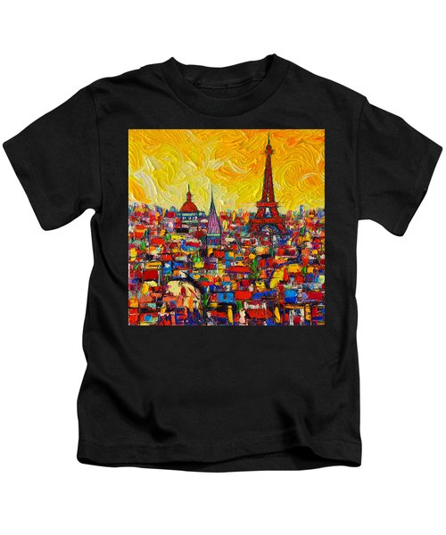 Vibrant Paris Abstract Cityscape Impasto Modern Impressionist Palette Knife Oil Ana Maria Edulescu Kids T-Shirt