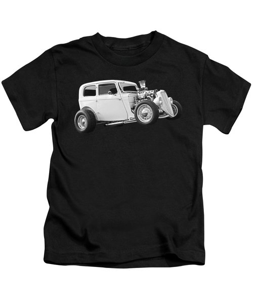Vintage Ford Hot Rod In Black And White Kids T-Shirt