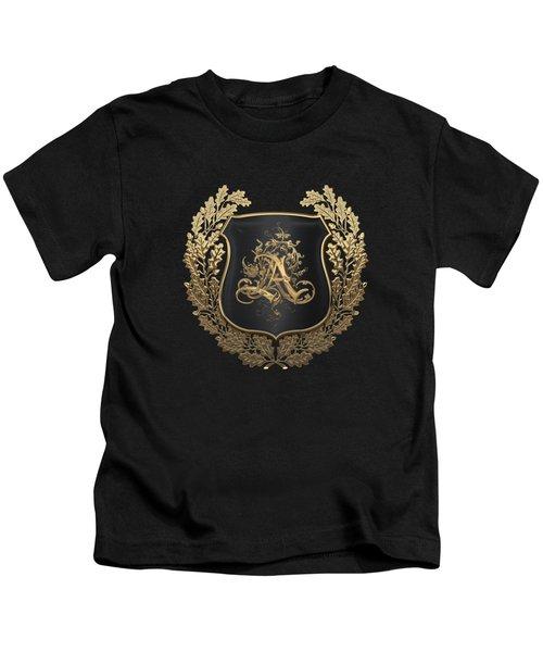 Vintage Gold Aa Monogram On Black Shield With Gold Oak Wreath Over Black Canvas Kids T-Shirt