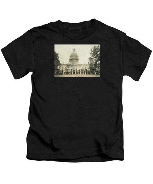 Vintage Motorcycle Police - Washington Dc  Kids T-Shirt by War Is Hell Store