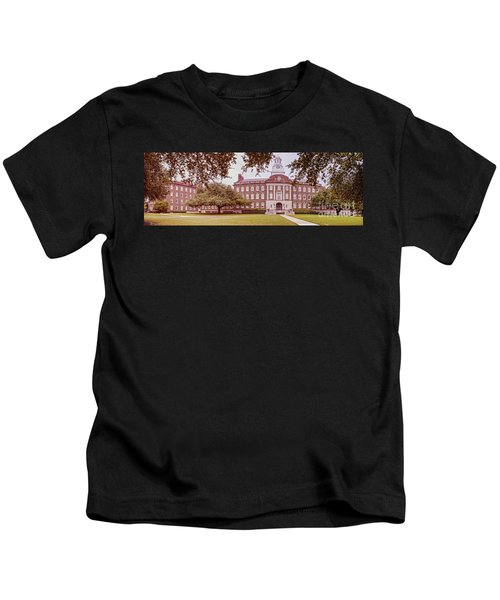 Vintage Panorama Of The Fondren Science Building At Southern Methodist University - Dallas Texas Kids T-Shirt