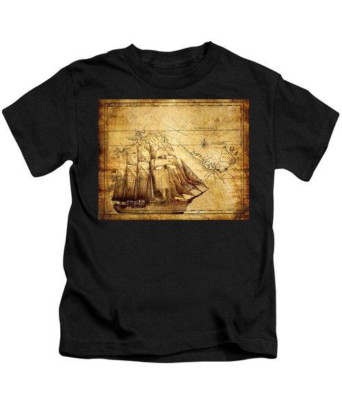 Vintage Ship Map Kids T-Shirt