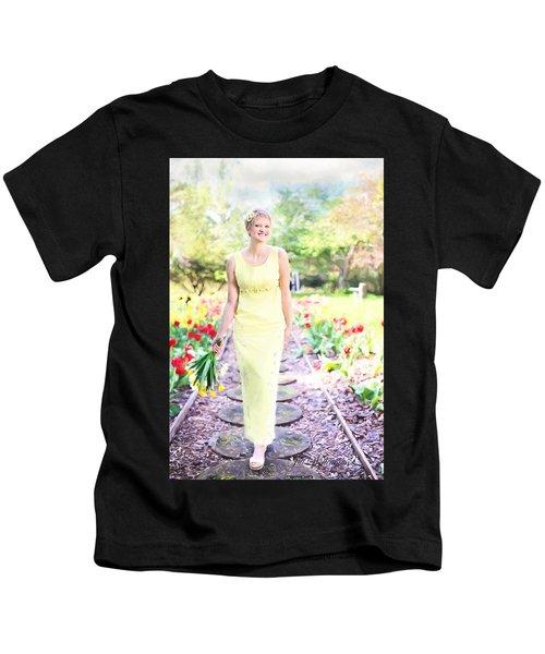 Vintage Val In Tulips Kids T-Shirt